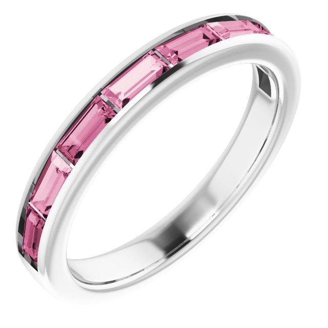 14K White Pink Tourmaline Ring