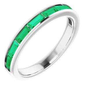 14K White Chatham® Created Emerald Ring