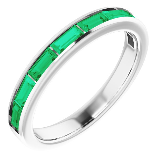 14K White Emerald Ring