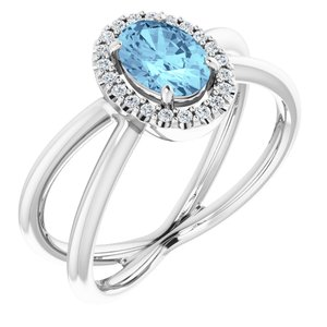 14K White Aquamarine & 1/10 CTW Diamond Ring