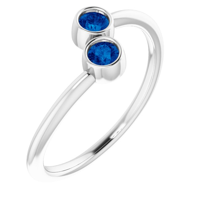 14K White Chatham® Lab-Created Blue Sapphire Two-Stone Ring