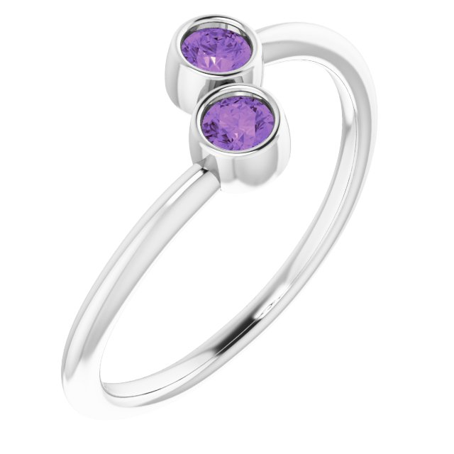 14K White Amethyst Two-Stone Ring