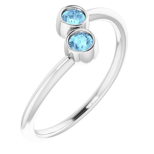 14K White Aquamarine Two-Stone Ring
