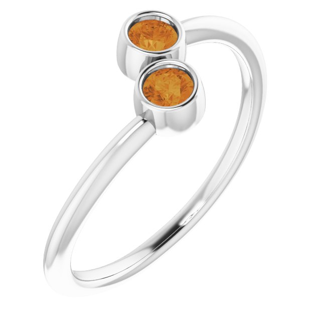 14K White Citrine Two-Stone Ring