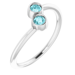 14K White Blue Zircon Two-Stone Ring