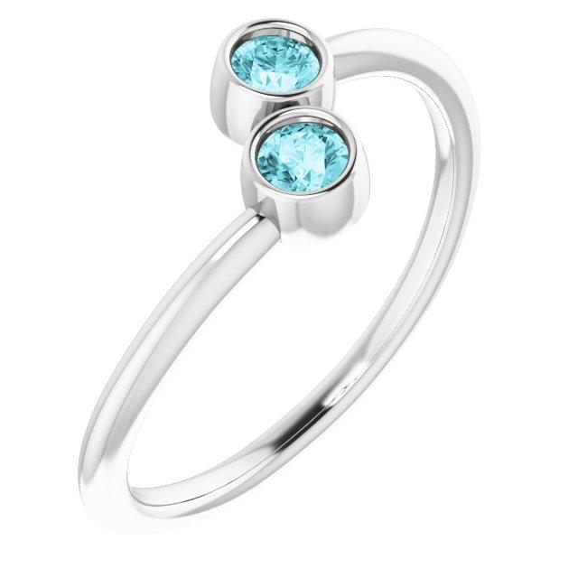 14K White Blue Zircon Two-Stone Ring