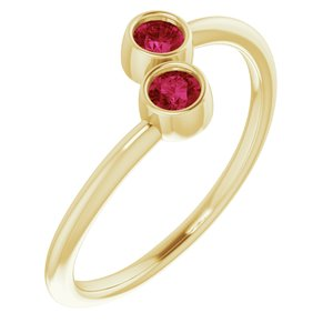 14K Yellow Chatham® Lab-Created Ruby Two-Stone Ring