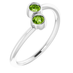 14K White Peridot Two-Stone Ring
