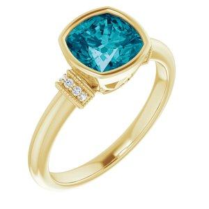 14K Yellow London Blue Topaz & .04 CTW Diamond Ring