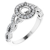 Infinity-Inspired Pave Halo-Style Engagement Ring or Band