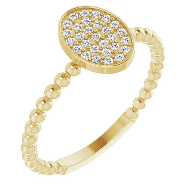14K Yellow 1/6 CTW Diamond Cluster Beaded Ring