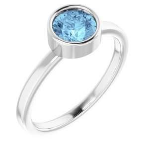 Rhodium-Plated Sterling Silver 6 mm Round Imitation Aquamarine Ring