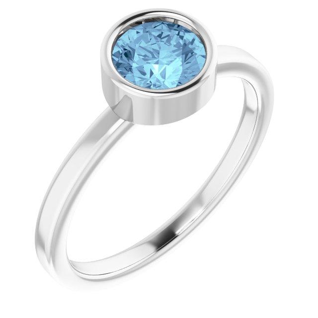 Rhodium-Plated Sterling Silver 6 mm Round Imitation Aquamarine Ring