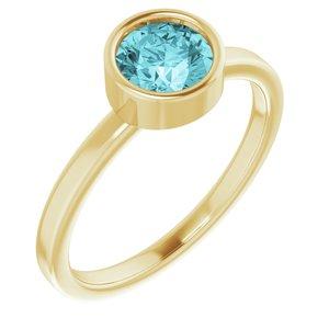 14K Yellow 6 mm Round Blue Zircon Ring