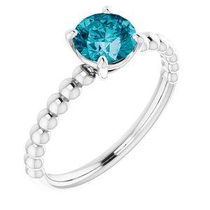 14K White London Blue Topaz Beaded Ring