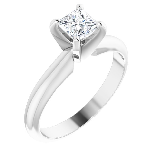 14K White 4 mm Square 4-Prong Moissanite Engagement Ring