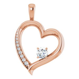 14K Rose 1/3 CTW Diamond Pendant