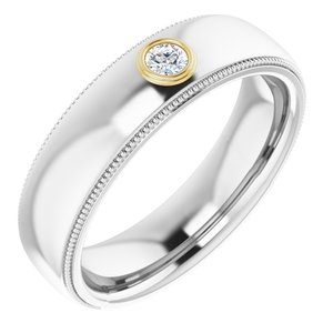 14K White & Yellow 1/10 CTW Men-s Diamond Ring
