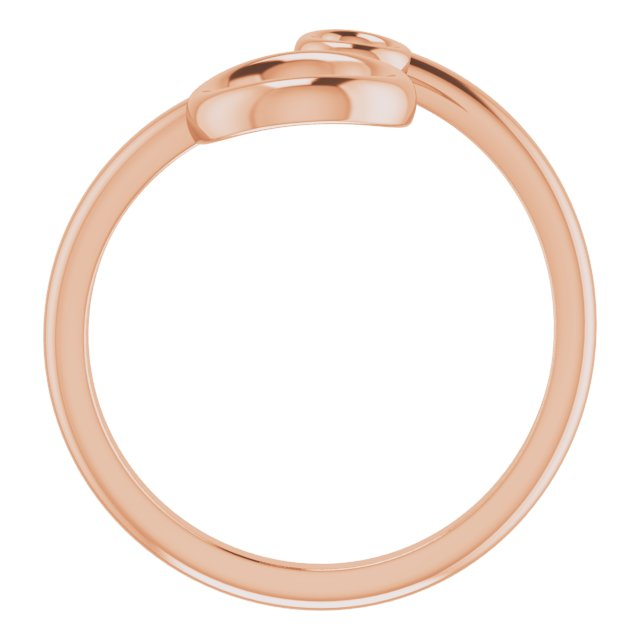 14K Rose Double Circle Bypass Ring