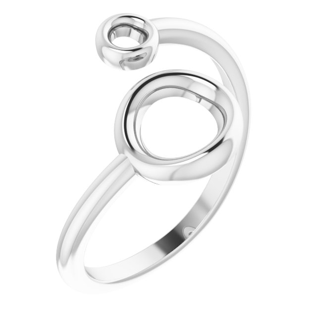 14K White Double Circle Bypass Ring