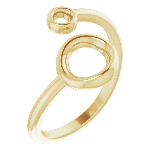 14K Yellow Double Circle Bypass Ring