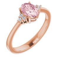 14K Rose Morganite & .06 CTW Diamond Ring