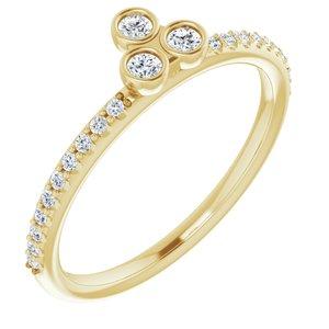 14K Yellow 1/5 CTW Diamond Three-Stone Asymmetrical Stackable Ring