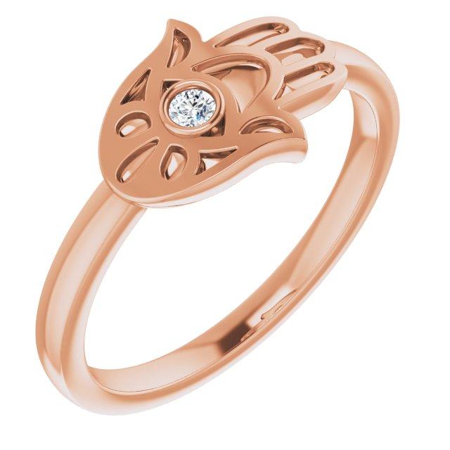 14K Rose .03 CTW Diamond Hamsa Ring