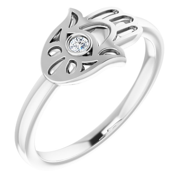 Sterling Silver .03 CTW Diamond Hamsa Ring