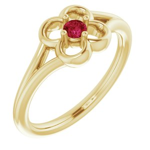 14K Yellow Red Ruby Youth Flower Ring