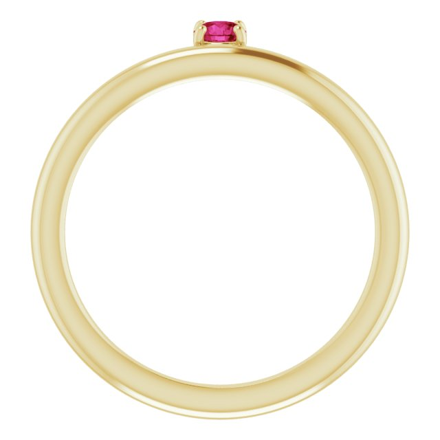 14K Yellow Chatham® Created Ruby Stackable Ring