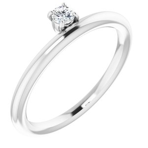 14K White 1/10 CT Diamond Stackable Ring