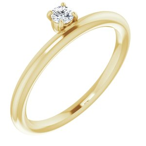 14K Yellow 1/10 CT Lab-Grown Diamond Stackable Ring