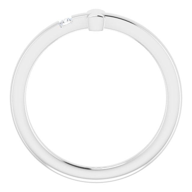 14K White Youth Diamond Sideways Cross Ring