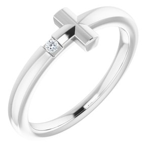 Sterling Silver .015 CTW Diamond Youth Cross Ring