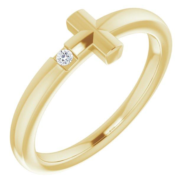 14K Yellow Youth Diamond Sideways Cross Ring