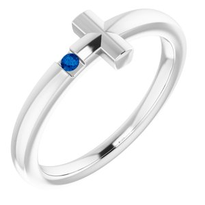 14K White Youth Blue Sapphire Sideways Cross Ring
