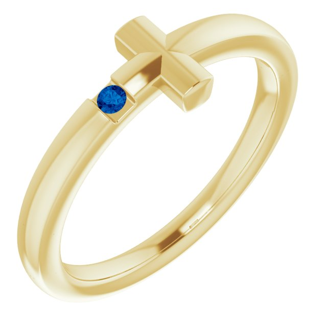 14K Yellow Youth Blue Sapphire Sideways Cross Ring