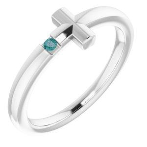 14K White 1.5 mm Round Genuine Alexandrite Youth Cross Ring