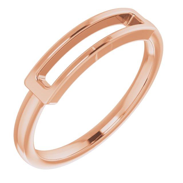 14K Rose Open Bar Ring