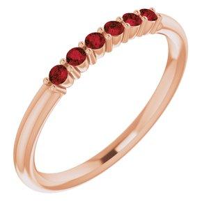 14K Rose Mozambique Garnet Stackable Ring