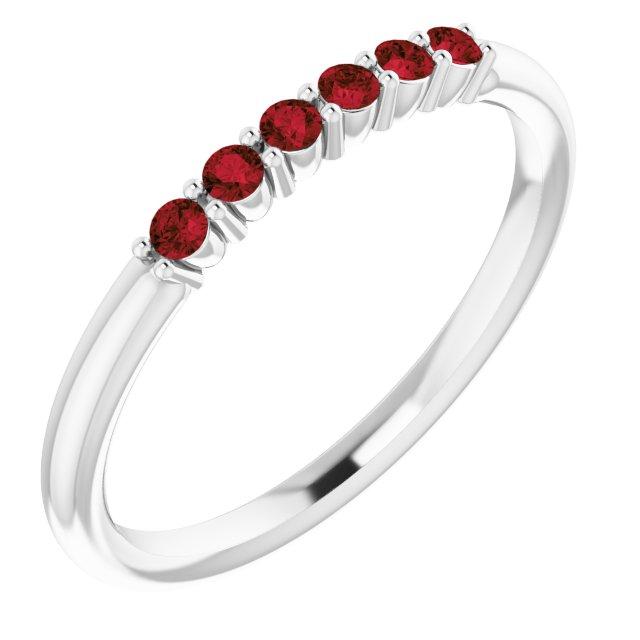 14K White Mozambique Garnet Stackable Ring