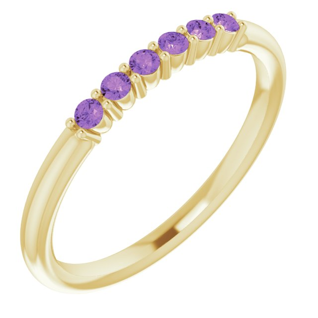 14K Yellow Amethyst Stackable Ring