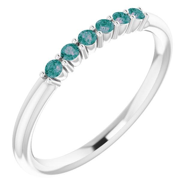 14K White Alexandrite Stackable Ring