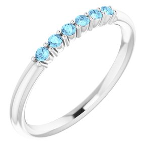 Platinum Aquamarine Stackable Ring