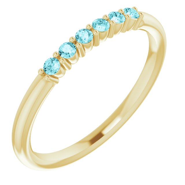 14K Yellow Blue Zircon Stackable Ring