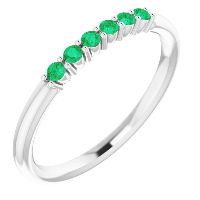 14K White Emerald Stackable Ring
