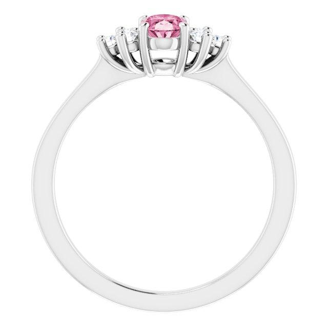 14K White Pink Tourmaline  & 1/8 CTW Diamond Ring