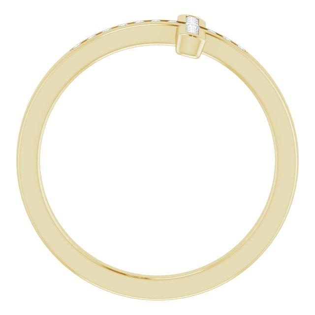 14K Yellow 1/10 CTW Diamond Sideways Cross Ring