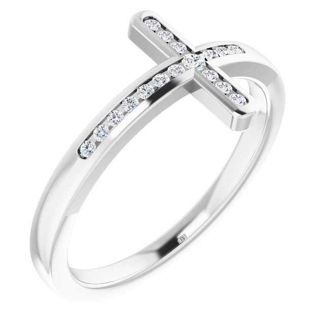 Sterling Silver 1/10 CTW Diamond Sideways Cross Ring